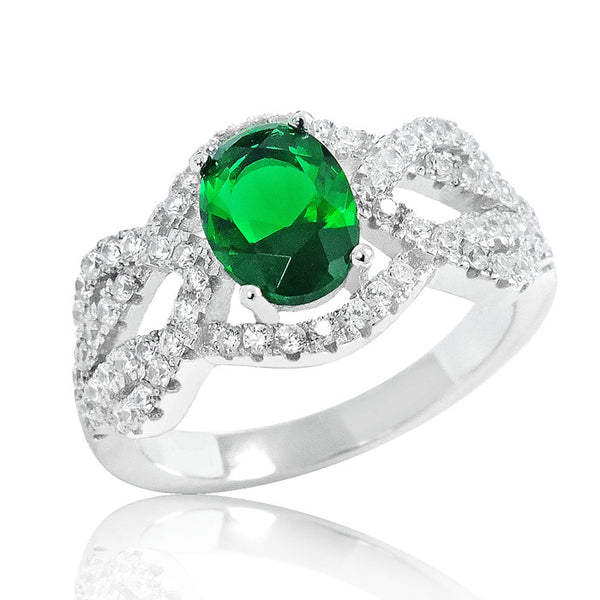 Graceful Green Crystal 925 Sterling Silver Ring 11mm - Jewelry - Prjewel.com - 1