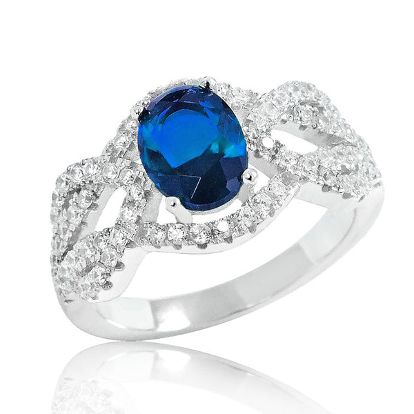 Graceful Blue Crystal 925 Sterling Silver Ring 11mm