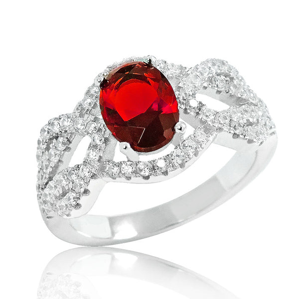 Graceful Red Crystal 925 Sterling Silver Ring 11mm