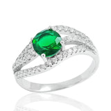 Stunning Green Crystal 925 Sterling Silver Ring 9mm - Jewelry - Prjewel.com - 1