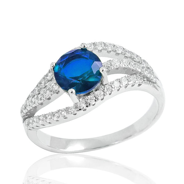 Stunning Blue Crystal 925 Sterling Silver Ring 9mm - Jewelry - Prjewel.com - 1