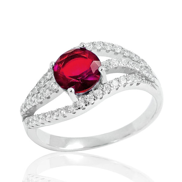 Stunning Red Crystal 925 Sterling Silver Ring 9mm