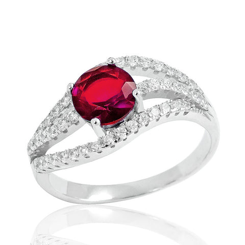 Stunning Red Crystal 925 Sterling Silver Ring 9mm - Jewelry - Prjewel.com - 1