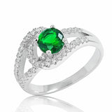 925 Sterling Silver Glamorous Green Crystal Ring - Jewelry - Prjewel.com - 1