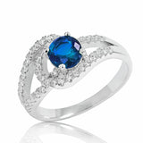 925 Sterling Silver Glamorous Blue Crystal Ring - Jewelry - Prjewel.com - 1