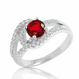 925 Sterling Silver Glamorous Red Crystal Ring - Jewelry - Prjewel.com - 1