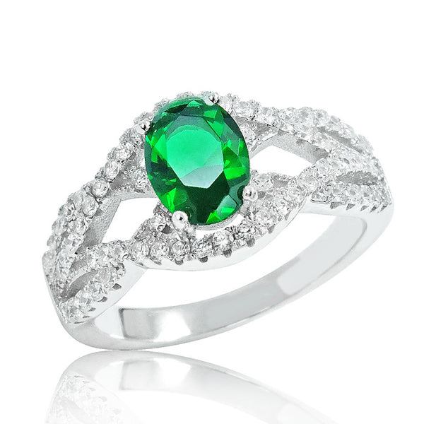 Precious Green Crystal 925 Sterling Silver Ring - Jewelry - Prjewel.com - 1