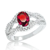 Precious Red Crystal 925 Sterling Silver Ring 11mm - Jewelry - Prjewel.com - 1