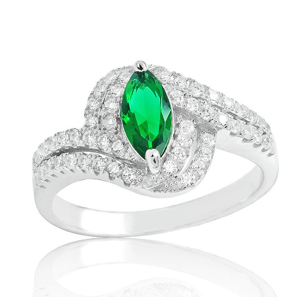925 Sterling Silver Fabulous Green Crystal Ring