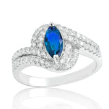 925 Sterling Silver Fabulous Blue Crystal Ring - Jewelry - Prjewel.com - 1