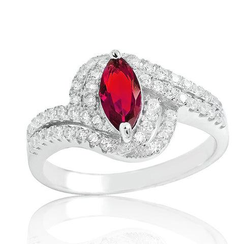 925 Sterling Silver Fabulous Red Crystal Ring - Jewelry - Prjewel.com - 1