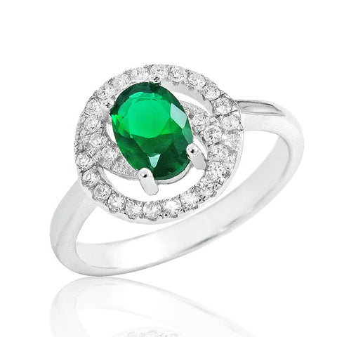 Gorgeous Green Crystal 925 Sterling Silver Ring 11mm - Jewelry - Prjewel.com - 1