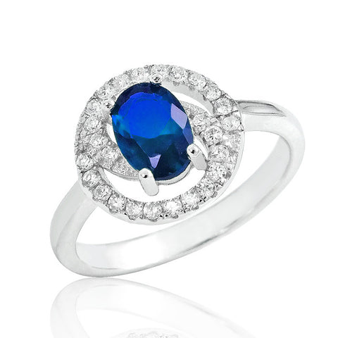 Gorgeous Blue Crystal 925 Sterling Silver Ring - Jewelry - Prjewel.com - 1