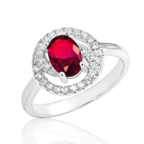 Gorgeous Red Crystal 925 Sterling Silver Ring 11mm - Jewelry - Prjewel.com - 1