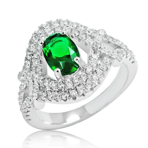 Delicate Green Crystal 925 Sterling Silver Ring - Jewelry - Prjewel.com - 1