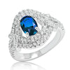 Delicate Blue Crystal 925 Sterling Silver Ring