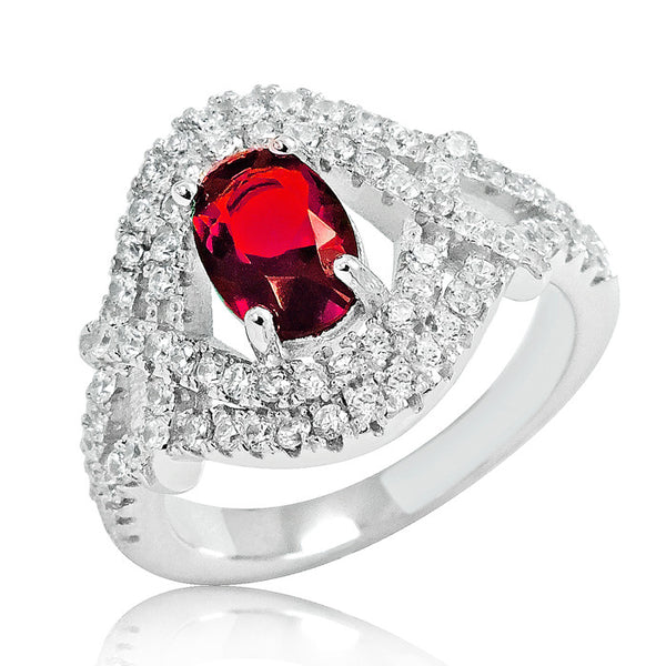 Delicate Red Crystal 925 Sterling Silver Ring