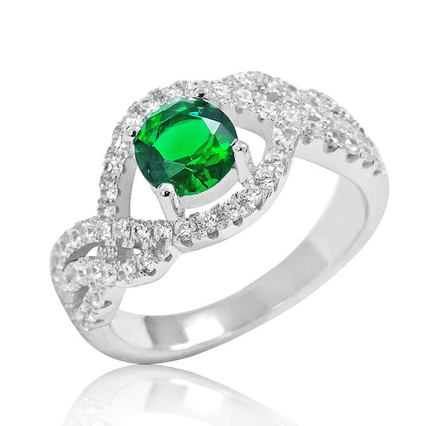 925 Sterling Silver Elegant Green Crystal Ring - Jewelry - Prjewel.com - 1