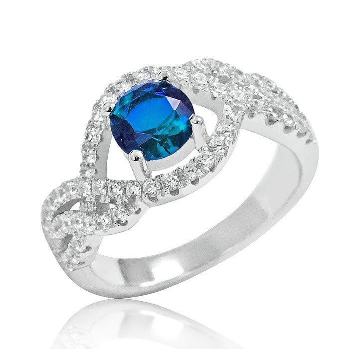 925 Sterling Silver Elegant Blue Crystal Ring - Jewelry - Prjewel.com - 1