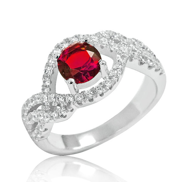 925 Sterling Silver Elegant Red Crystal Ring - Jewelry - Prjewel.com - 1