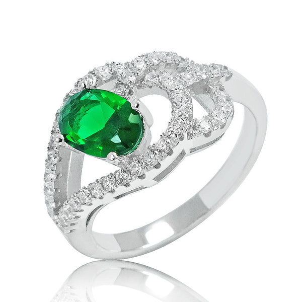 Stylish Green Crystal 925 Sterling Silver Ring 10mm - Jewelry - Prjewel.com - 1