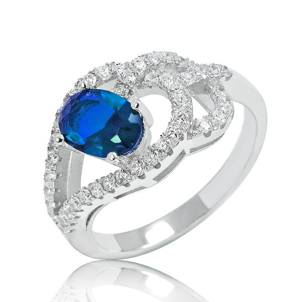 Stylish Blue Crystal 925 Sterling Silver Ring 10mm