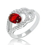 Stylish Red Crystal 925 Sterling Silver Ring 10mm - Jewelry - Prjewel.com - 1