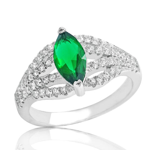 Gleaming Green Crystal 925 Sterling Silver Ring - Jewelry - Prjewel.com - 1