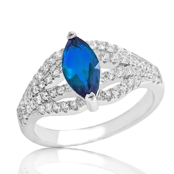 Gleaming Blue Crystal 925 Sterling Silver Ring - Jewelry - Prjewel.com - 1