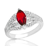 Gleaming Red Crystal 925 Sterling Silver Ring - Jewelry - Prjewel.com - 1