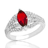Gleaming Red Crystal 925 Sterling Silver Ring