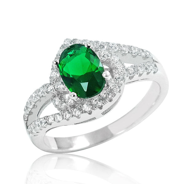 925 Sterling Silver Magnificent Green Crystal Ring - Jewelry - Prjewel.com - 1