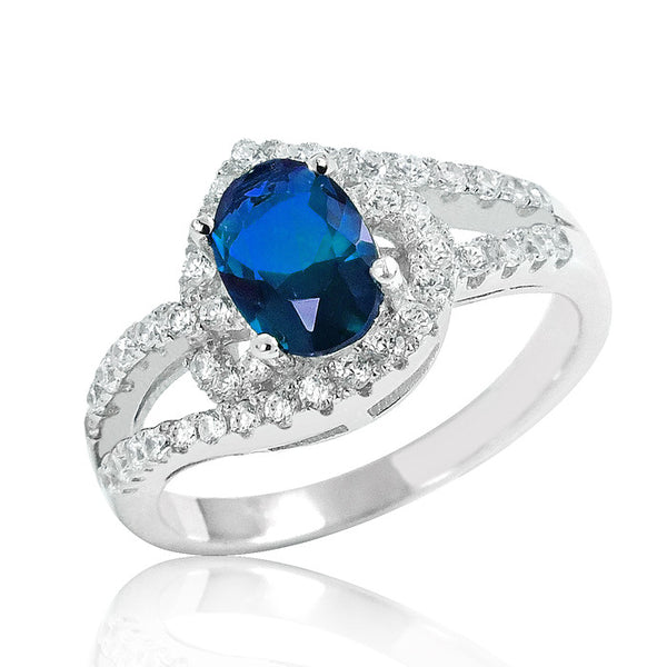 925 Sterling Silver Magnificent Blue Crystal Ring - Jewelry - Prjewel.com - 1