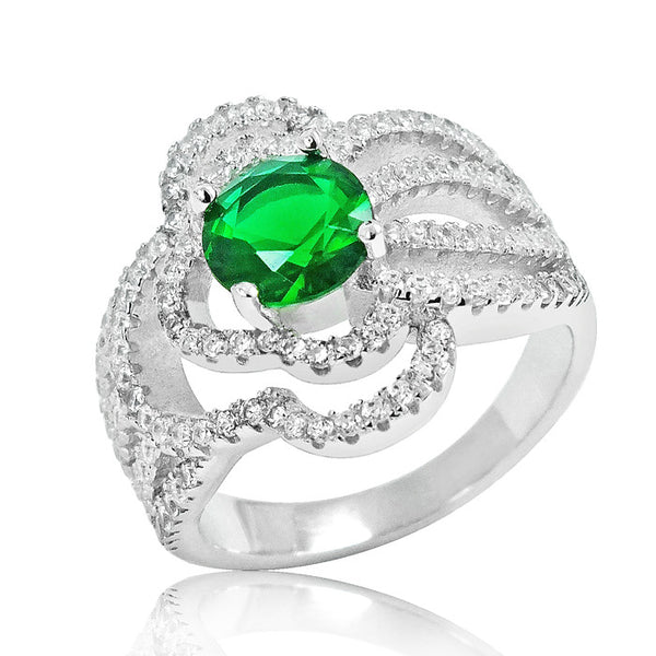 925 Sterling Silver Fashionable Green Crystal Ring - Jewelry - Prjewel.com - 1