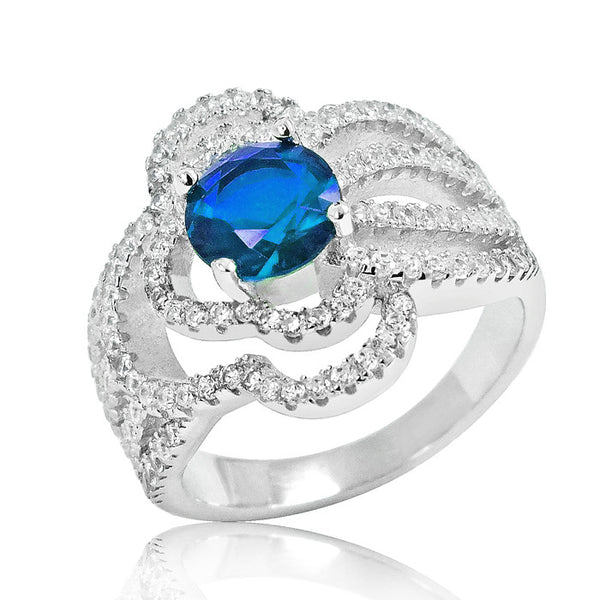 925 Sterling Silver Fashionable Blue Crystal Ring