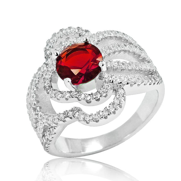 925 Sterling Silver Fashionable Red Crystal Ring - Jewelry - Prjewel.com - 1