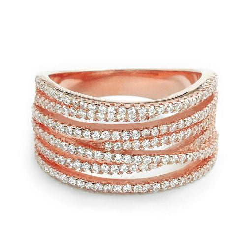 Gorgeous Rose Gold Over 925 Sterling Silver Fashion Cubic Zirconia Ring - Jewelry - Prjewel.com - 1