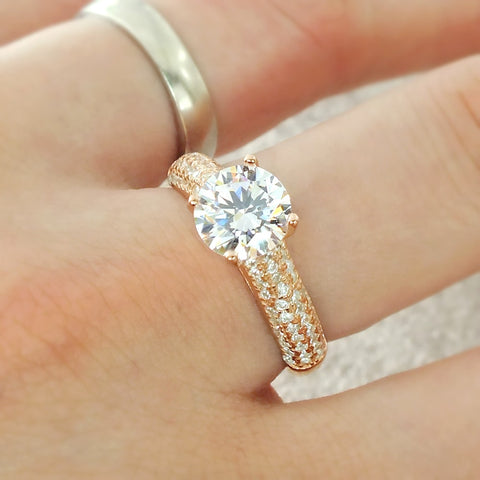 Luxurious Rose Gold Plated 925 Silver CZ Engagement Ring