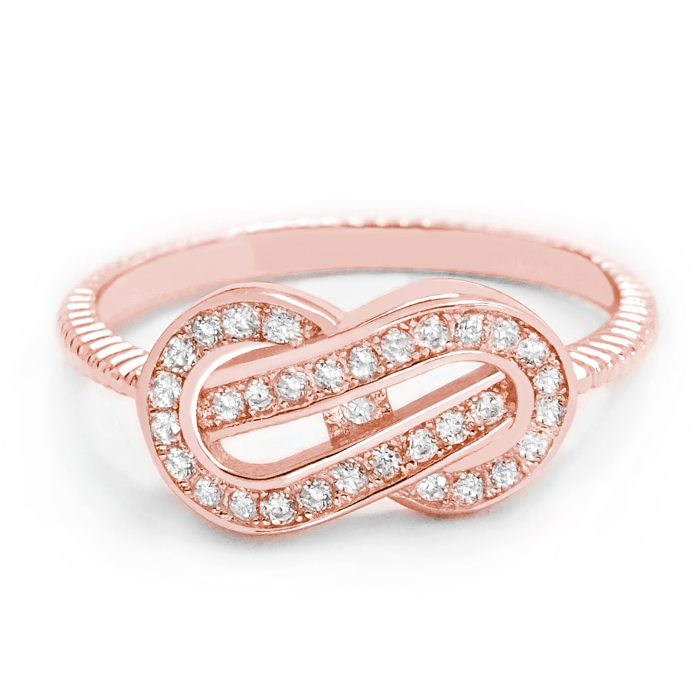 Attractive Cubic Zirconia Rose Gold Plated Silver Infinity Ring