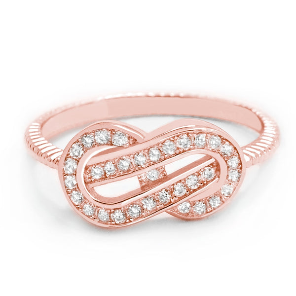 Attractive Cubic Zirconia Rose Gold Plated Silver Infinity Ring - Jewelry - Prjewel.com - 1