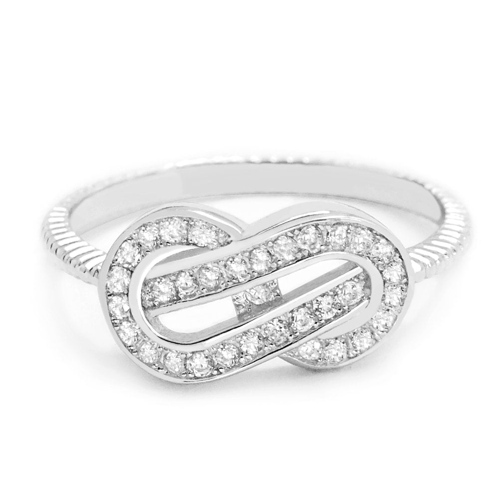 Attractive Cubic Zirconia 925 Sterling Silver Infinity Ring