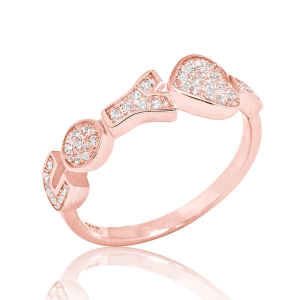 Rose Gold Plated Silver Cubic Zirconia Charming I LOVE YOU Ring - Jewelry - Prjewel.com - 1