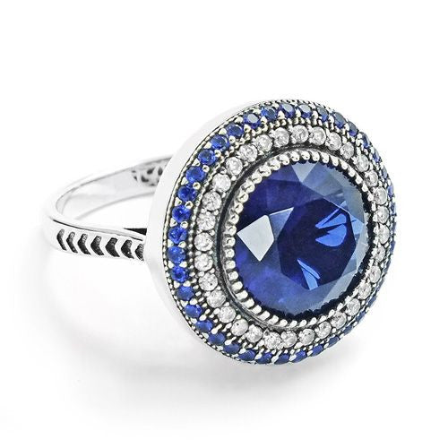 Stunning Sterling Silver Blue Crystal Ring 18mm - Jewelry - Prjewel.com