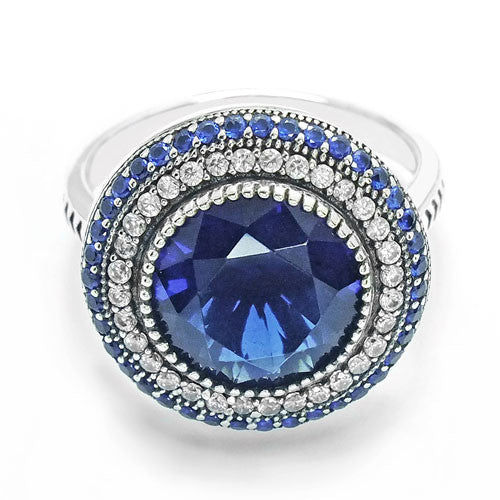 Stunning Sterling Silver Blue Crystal Ring 18mm - Jewelry - Prjewel.com - 2