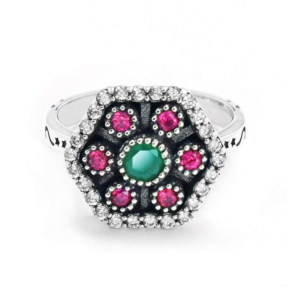 Magnificent 925 Sterling Silver Cubic Zirconia Multi Color Crystal Ring - Jewelry - Prjewel.com - 3