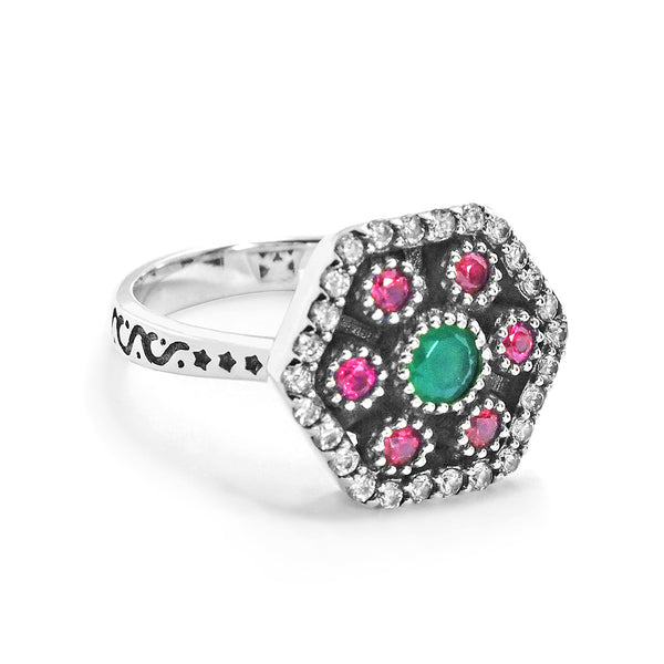 Magnificent 925 Sterling Silver Cubic Zirconia Multi Color Crystal Ring