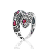 Fashionable Snake Red Crystal Cubic Zirconia 925 Sterling Silver Ring - Jewelry - Prjewel.com - 1