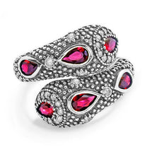Fashionable Snake Red Crystal Cubic Zirconia 925 Sterling Silver Ring - Jewelry - Prjewel.com - 2