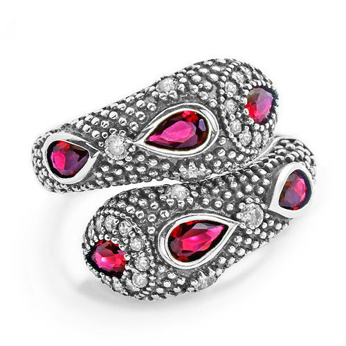 Fashionable Snake Red Crystal Cubic Zirconia 925 Sterling Silver Ring