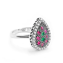 Multi Color Crystal Vintage Silver Ring - Jewelry - Prjewel.com - 1